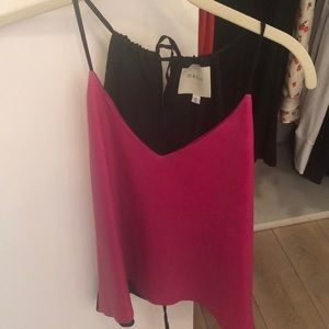 Mason Pink and Black Leather Top